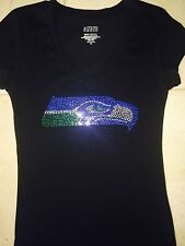 Seattle Seahawks women rhinestone t-shirt size S M L