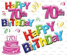 Happy 70th Birthday ~ Frosting Sheet Cake Topper ~ Edible Image ~ D6001