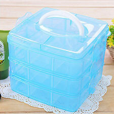 3 Layer 18 compartments Adjustable Plastic Storage Box Case Craft Organizer