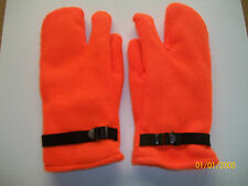 HUNTERS ORANGE ONE FINGER LINED MITTENS  -  MADE IN THE USA