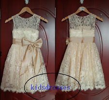 2015 Vintage champagne wedding flower girl tutu dress with corset and sash