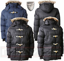 Mens Padded Quilted Parka Jacket Max Edition Faux Fur Hood Winter Coat NAGANO