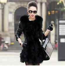 Hot Warm Sheep Skin Faux Fox Fur Mid-Long Coat Overcoat Shawl Parka Vest Jacket