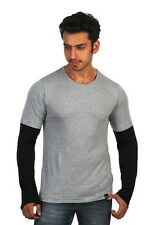 RIGO Grey Round Neck Full Sleeve Cotton T-shirt