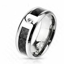 Men's Solid Titanium Band Ring with Black Graphite Carbon Fiber Inlay & CZ Gem