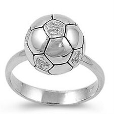 Sterling Silver Clear CZ Sport Soccer Ball Mom's Band Side Way Ring Size 3-11