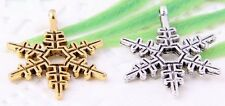 Wholesale 24/50Pcs Silver Plated/Gold Plated(Lead-Free)Snowflake Charms 24x18mm