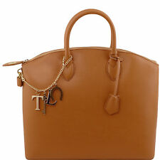 TUSCANY LEATHER saffiano leather tote shopper bag for women big made in Italy