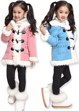 Kids Baby Girls Winter Horn Buckle Warm Coat Jacket Tops Outwear Clothes 2-8Y
