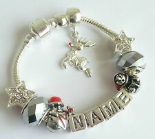 CHILDRENS CHRISTMAS CHARM BRACELET ANY NAME  RUDOLPH THE RED NOSE REINDEER GIFT