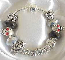 PERSONALISED HALLOWEEN CHARM BRACELET ANY NAME WITCH GHOST SKULLS
