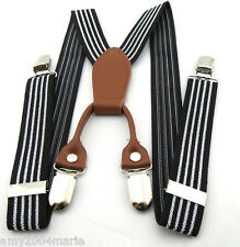 """Toddler Black / White Striped 1"""" Wide Suspenders Ages 2 - 5 Years - 2T 3T 4T"""