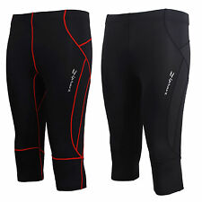 mens womens skin compression 3/4 length pants tights sports Capri clothing S~2XL