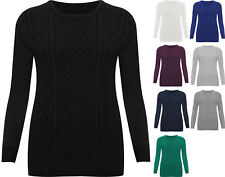 New Plus Size Womens Plain Long Sleeve Sweater Top Ladies Knitted Jumper 16 - 22