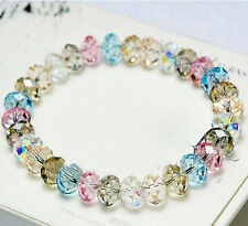 Fashion Colorful Crystal Stone Wristbands Charm Bracelet Elastic Bangle New Gift