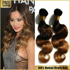 100% Remy Human Hair Extensions 1B/4/27 Ombre Three Tone Hair Extensions 100g