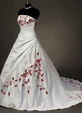 STOCK New White And Red  Embroidery Lace Up Wedding Dress Bridal Gown Size 6-18