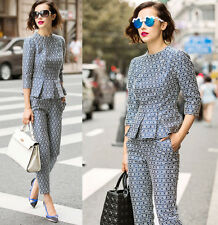 2014 new arrival occident FASHION Heavy falbala jacquard profile Top+pants suits