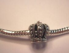 Authentic .925 Silver - Crown Charm for Snake Chain Charm Bracelets USA Seller