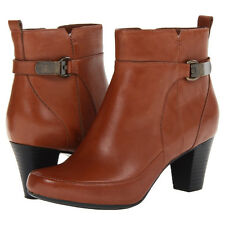 Clarks SAPPHIRE LINA Womens Brown Leather Comfort Dress Causal Ankle Boots