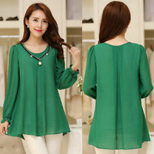 Fashion Women Lady CASUAL CHIFFON TOP BLOUSE LONG SLEEVE Loose SHIRT Size M-4XXL