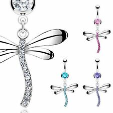 Belly Bar with Dragonfly Crystal Gem Dangle Surgical Steel Body Piercing