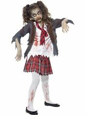Girl's Zombie School Girl Halloween Costume Grey Tartan Skirt Jacket Shirt Tie