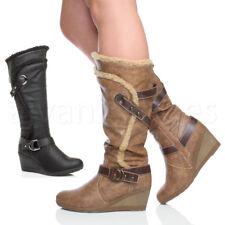 WOMENS LADIES MID HIGH HEEL WEDGE FUR ZIP CALF GRIP SOLE KNEE WINTER BOOTS SIZE
