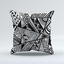 SUEDE STYLE 18x18 Inch FILLED THROW CUSHION - Black and White Retro Pattern