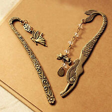 2PCS Elegant Antiqued Bronze Traditional Bookmark Angel Heart Tree Leaf Key Gift