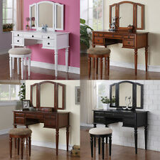 3PC Tri Mirror 5 Drawer White Black Cherry Walnut Make Up Table Vanity Stool Set