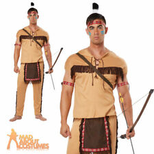 Adult Native Brave Red Indian Man Costume Deluxe Mens Western Fancy Dress Outfit