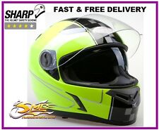 **LAST FEW UK STOCKS** Viper RS-V9 4* SHARP Yellow Motorcycle Motorbike Helmet