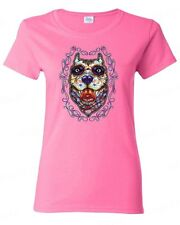 Sugar Skull Pittbull Day of the Dead WOMEN T-SHIRT Mexican Gothic tee