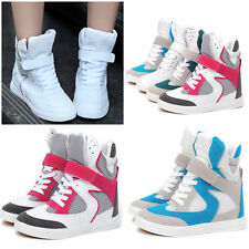 Womens Mesh Hidden Wedge Heel new Strap Lace Up High Top Shoes Ankle Boots