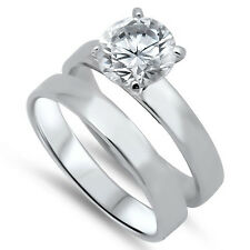 Sterling Silver Solitaire Clear CZ Promise Engagement 2 in 1 Set Ring Size 3-11