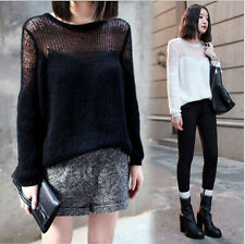 British Beauty Fasion Women's Loose Casual Hollow Sweater Pullover Sweater Shirt