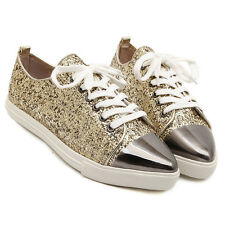Gold New Womens Glitter Metallic Pointy Toe Lace Up Flats Oxford Sneakers Shoes