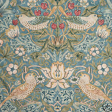 William Morris Strawberry Thief Slate Lined Curtains with Pencil Pleat