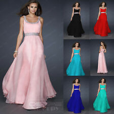 Stock Long Chiffon Wedding Evening Formal Party Ball Gowns Prom Bridesmaid Dress