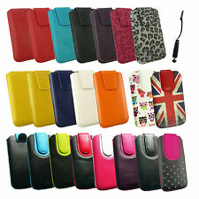 PU Leather Pouch Case Cover Sleeve with Pull Tab for SmartPhones & Black Stylus