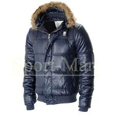 Mens Crosshatch Fur Hood Puffa Quilted Padded Puffer Bomber Jacket Coat Size