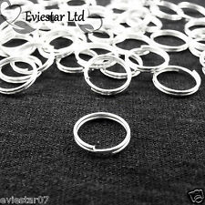 4,5,6,7,8,10 mm Silver Plated Metal Double Loop Split Jump Ring