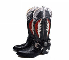 New Collection1127 Real Leather Handmade Cowboy Western Mens Womans Boots Black