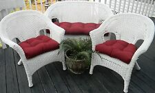 Cushions for Wicker Loveseat and Chairs ~ 3 Pc Set ~Choose Solid Colors ~Outdoor