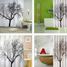 Simple Big Black Scenery Tree Design Bathroom Waterproof Fabric Shower Curtain