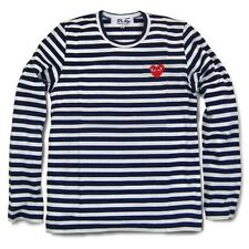 HOT 2014 COMME DES GARCONS CDG PLAY STRIPED LONG SLEEVE NAVY BLUE RED HEART