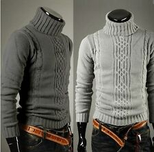Fashion Mens Slim Fit Pullover Cardigan Sweater Coat Turtleneck Casual Knit Tops