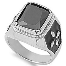 Stainless Steel Princess Cut Black CZ Cross Elegant Wide Band Ring Sizes 8-14