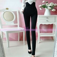 Vintage Buttoned High Waisted Stretch Skinny Pants Black Slimming Trousers